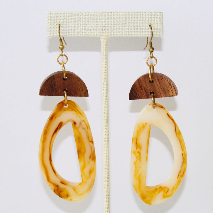 GEOMETRIC WOOD DROP EARRINGS - K&E FASHIONS