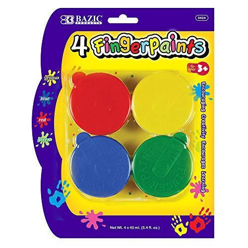 BAZIC Assorted Color 40ml Finger Paint Set, Art Supplies Fun Creative Painting for Kids Activity Class Home DIY Age 3+ (4/Pack), 24-Pack