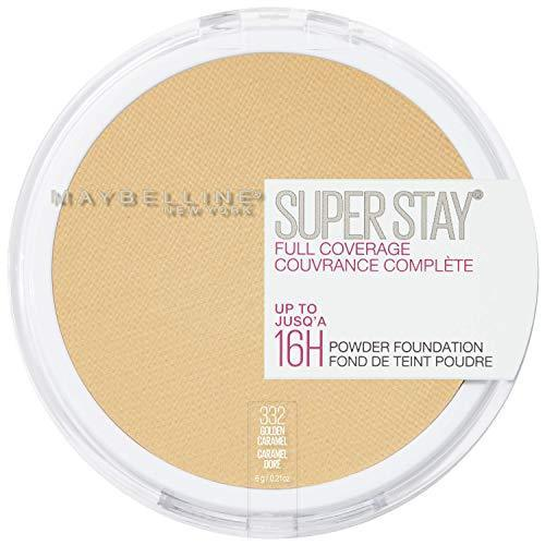 Maybelline New York Super Stay Full Coverage Powder Foundation Makeup, 332 Golden Caramel, 1 Count