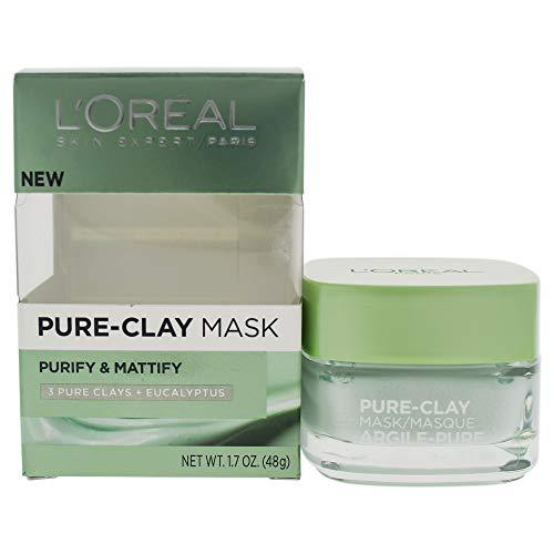 L'Oreal Paris Skincare Pure-Clay Face Mask with Eucalyptus for Oily and Shiny Skin to Purify and Matify, 1.7 Ounce (Pack of 1)