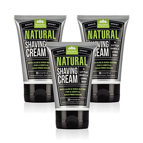 Pacific Shaving Company Natural Shaving Cream - Safe, Natural, and Plant-Derived Ingredients for a Smooth Shave, Softer Skin, Less Irritation, Cruelty Free, TSA Friendly, Made in USA, 3.4 oz (3-Pack) - 3.4 Ounce (Pack of 3)