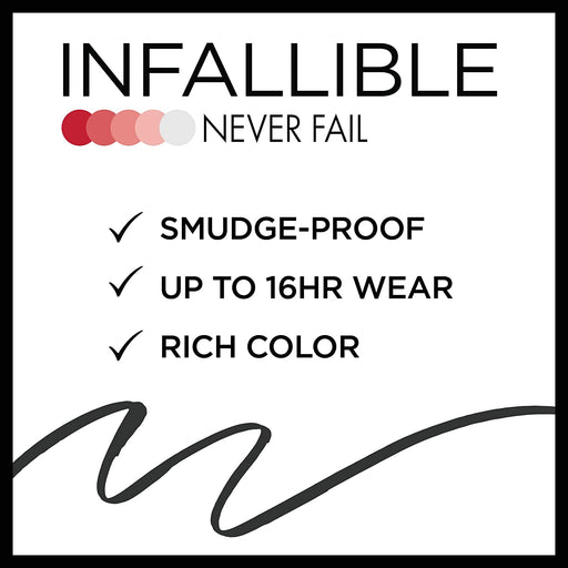 L'Oreal Paris Infallible Never Fail Eyeliner, Black, 2 Count