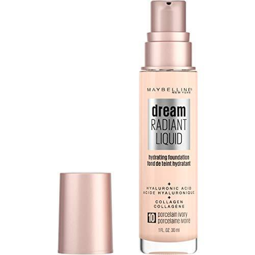 Maybelline Dream Radiant Liquid Medium Coverage Hydrating Makeup, Lightweight Liquid Foundation, Porcelain Ivory, 1 Fl. Oz