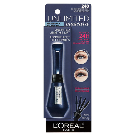 L'Oreal Paris Makeup Unlimited Lash Lifting and Lengthening Waterproof Mascara, Blackest Black