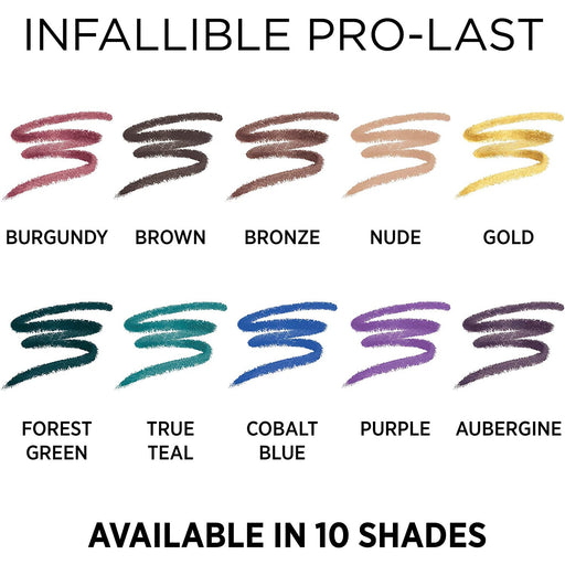 L'Oreal Paris Makeup Infallible Pro-Last Pencil Eyeliner, Waterproof & Smudge-Resistant, Glides on Easily to Create any Look, Brown, 0.042 oz.