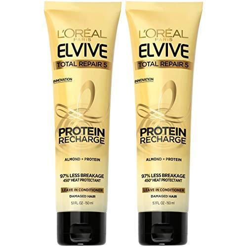 L'Oreal Paris Hair Care Elvive Total Repair 5 Protein Recharge Leave In Conditioner Hair Treatment, Heat Protectant for Damaged Hair, 5.1 fl. oz, (Pack of 2)