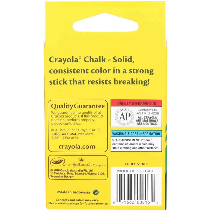 Crayola Colored Low Dust Chalk, 12Count in Each, 6 Pack - 6 Pack