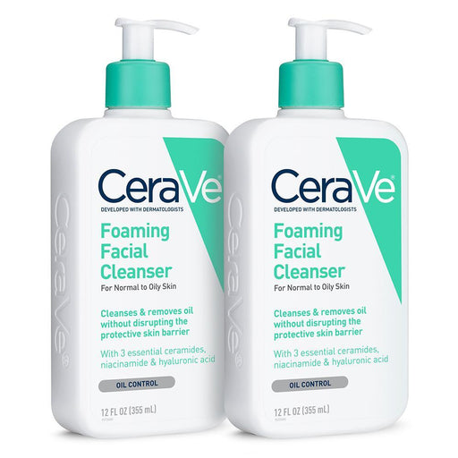 (2 Pack) CeraVe Foaming Face Wash, Cleanser for Normal to Oily Skin, 12 oz.