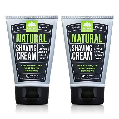 Pacific Shaving Company Natural Shaving Cream - Safe, Natural, and Plant-Derived Ingredients for a Smooth Shave, Softer Skin, Less Irritation, Cruelty Free, TSA Friendly, Made in USA, 3.4 oz (2-Pack) - 3.4 Ounce (Pack of 2)
