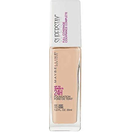 Maybelline New York Super Stay Full Coverage Liquid Foundation Makeup, Ivory, 1 Fl Oz