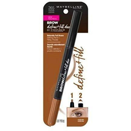 Maybelline New York Eyestudio Brow Define + Fill Duo Pencil, Auburn [265] 1 ea (Pack of 3)