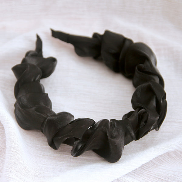 Silk Chiffon Headband - Midnight Black