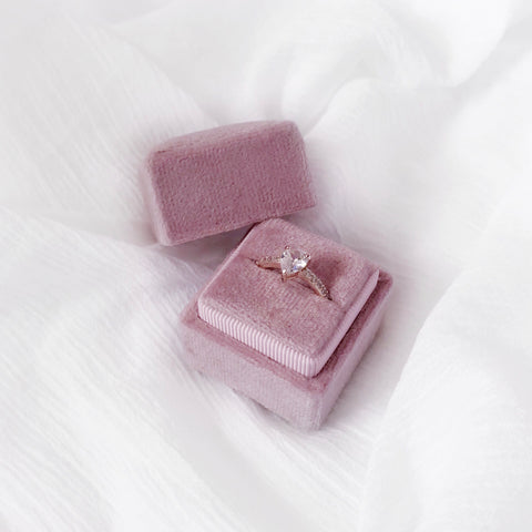 Square Velvet Ring Box - Spring Blush