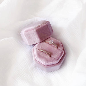 Octagon Velvet Double Ring Box - Spring Blush
