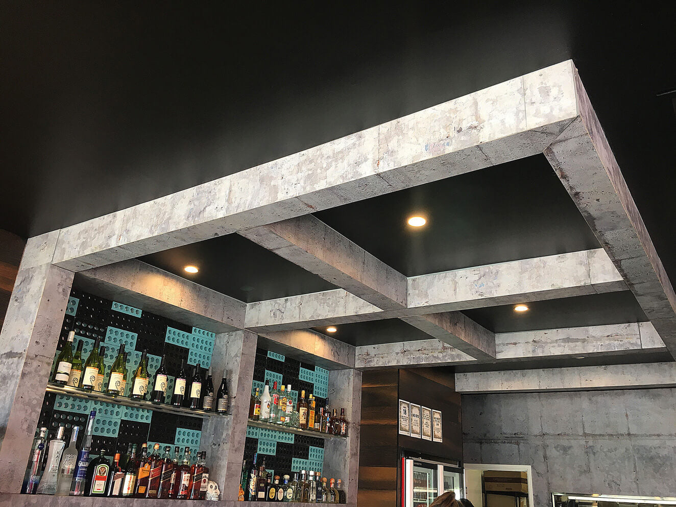 ceiling and wall sheeting in restaurant