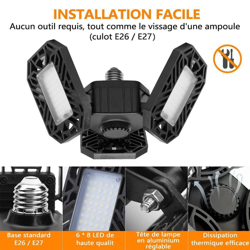 LED Plafonnier Pliable Au Garage