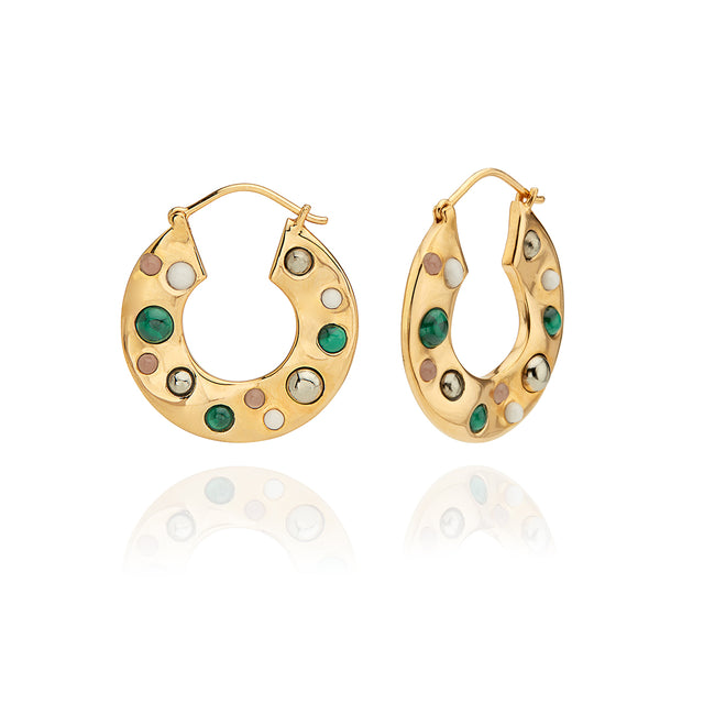 Wavy Stone Medium Hoop Earrings