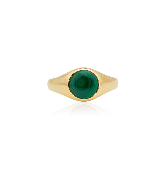Small Malachite Stone Signet Ring