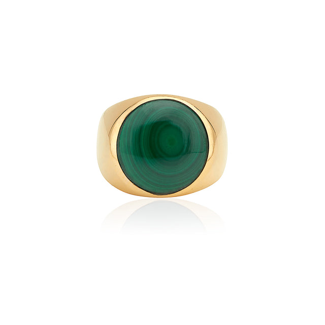 Large Malachite Stone Signet Ring
