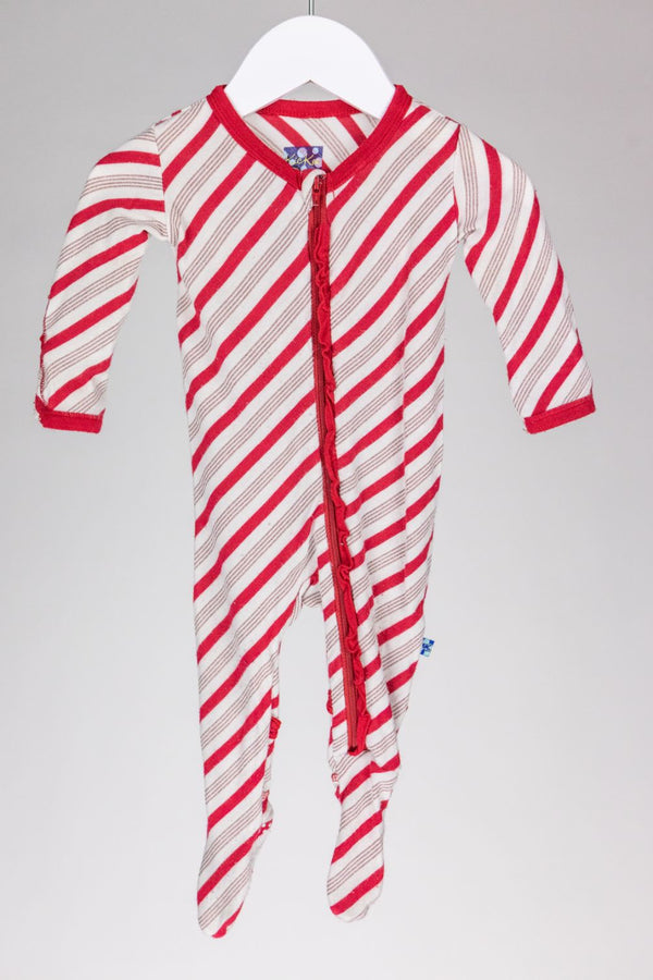 Candy Cane Footie (3-6M)