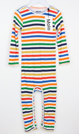 Cozy Striped Long-Sleeve Romper (2Y)