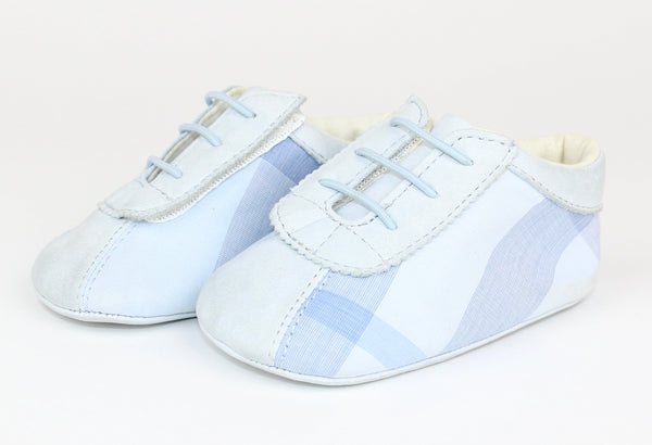 Baby Blue Plaid Bootie/Shoes (Size 17)