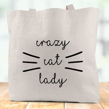 Load image into Gallery viewer, Crazy Cat Lady Linen Tote Bag