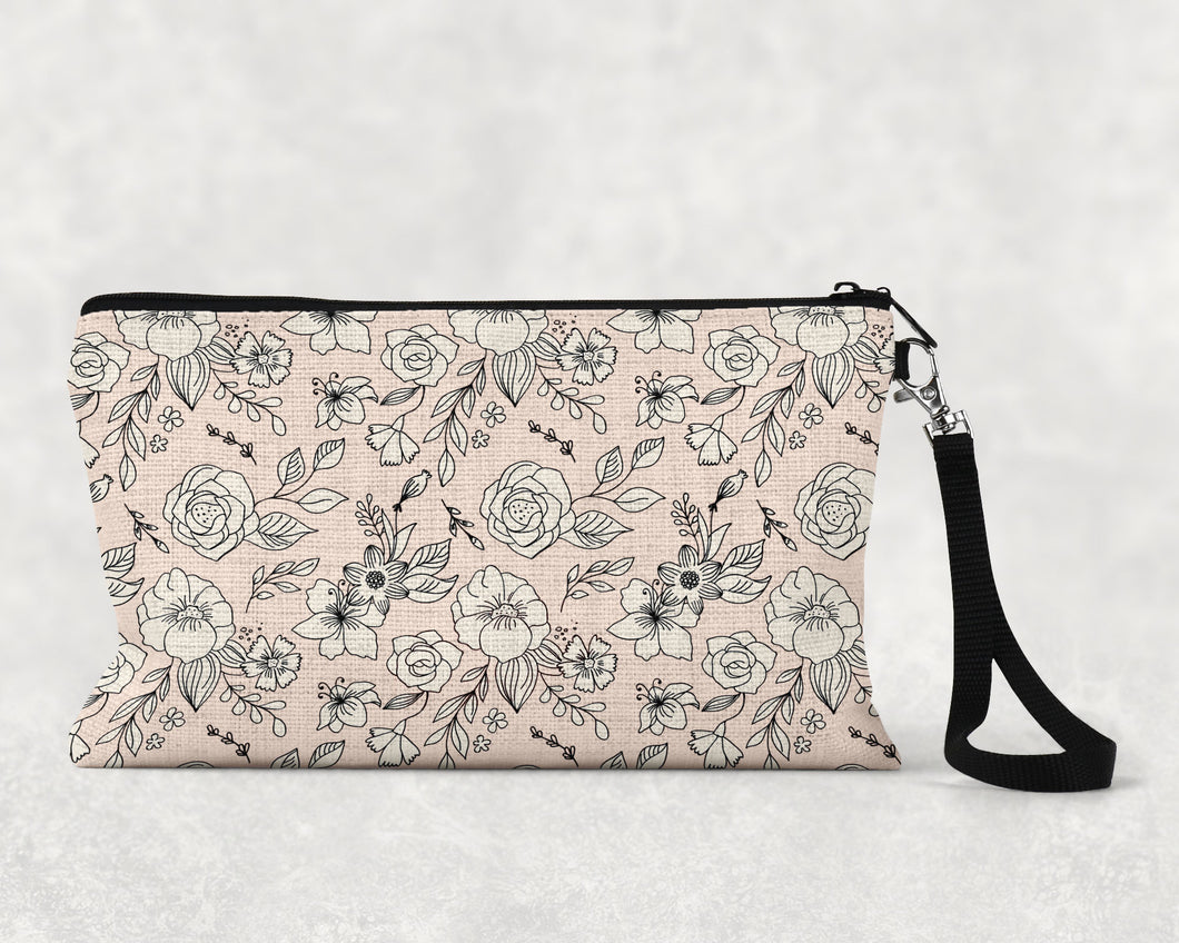 Tattoo Pattern Pink & White Make Up Bag