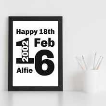 Load image into Gallery viewer, Personalised Name Date Year Print