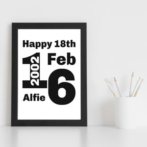 Personalised Name Date Year Print