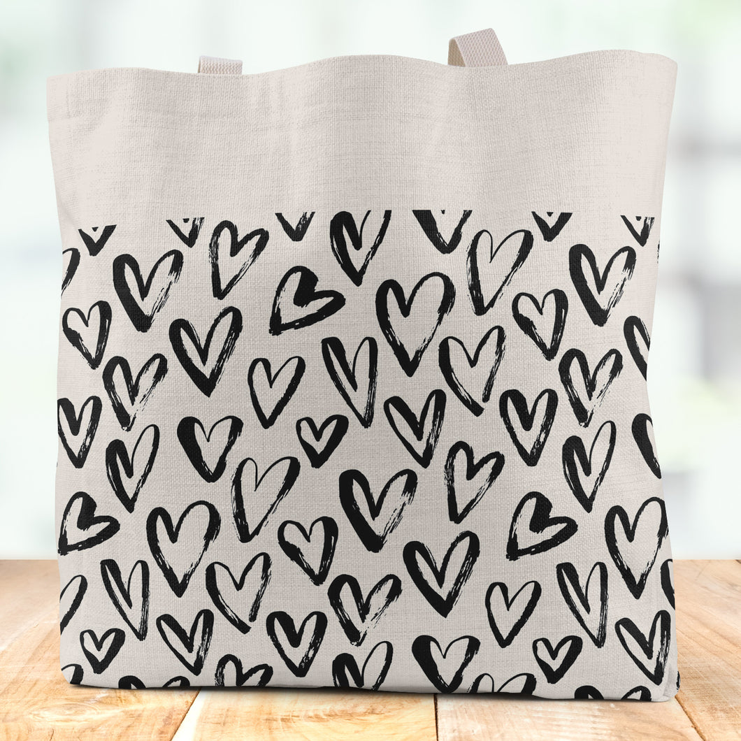 Hearts Linen Tote Bag