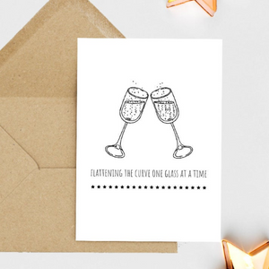 Flattening The Curve One Drink At A Time - Greetings Card
