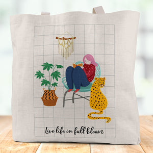 Live Life In Full Bloom Linen Tote Bag