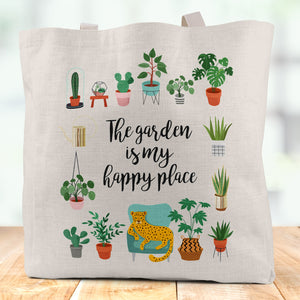 The Garden Is My Happy Place Linen Tote Bag