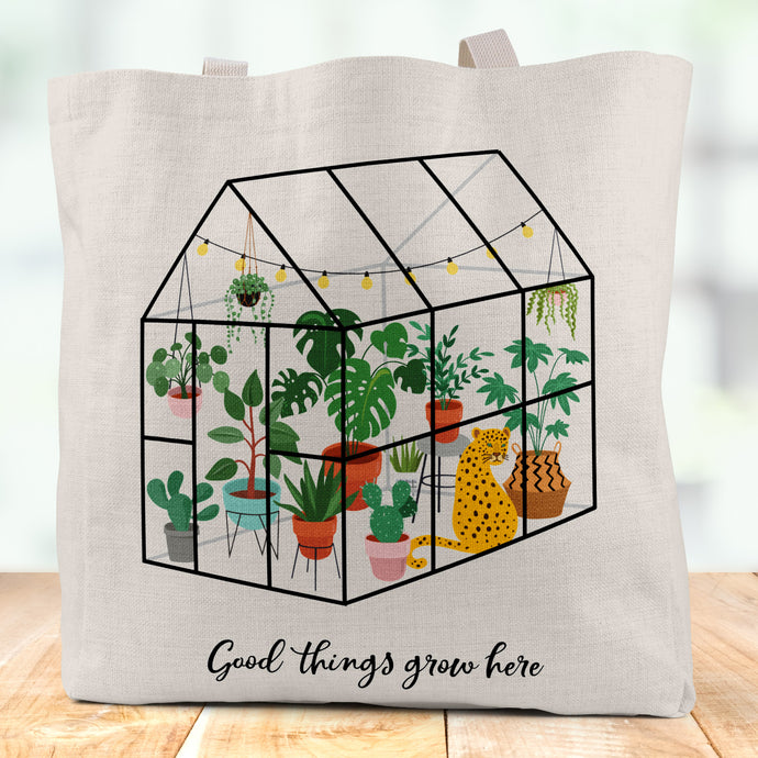 Good Things Grow Here Linen Tote Bag