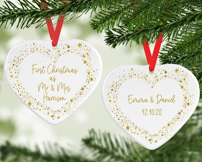 Personalised 1st Christmas Married Decoration