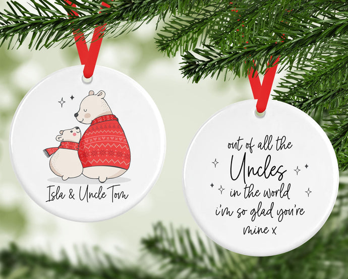Personalised Ceramic Uncle Christmas Decoration