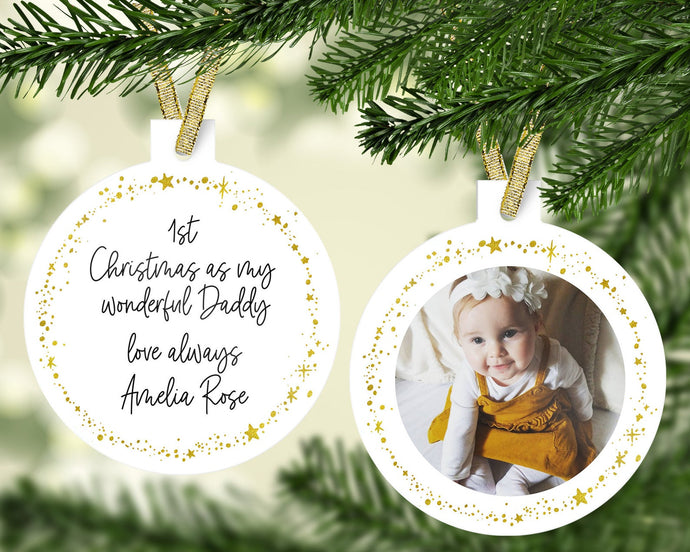 1st Christmas As My Daddy Personalised Photo Christmas Decoration