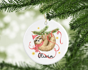 Personalised Cute Sloth Decoration