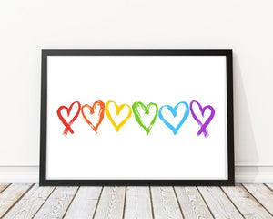 Rainbow Hearts Print - LGBT Quotes - Pride Equality Print - Pride Rainbow Print