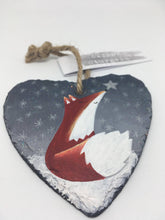 Load image into Gallery viewer, Fox Slate Heart Hanger - Hand Painted Gift - Fox Art - Fox Painting - Fox Picture - Positive Quotes