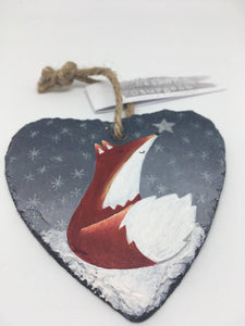 Fox Slate Heart Hanger - Hand Painted Gift - Fox Art - Fox Painting - Fox Picture - Positive Quotes