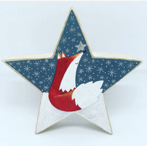 Hand Painted Fox Wooden Star