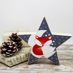 Hand Painted Wooden Star - Fox Gift