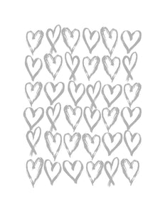 Love Hearts Print - Grey and White