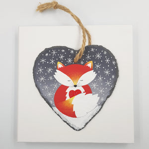 Hand Painted Fox Decoration- Slate Hanger