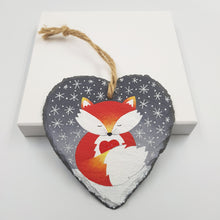 Load image into Gallery viewer, Hand Painted Fox Decoration- Slate Hanger
