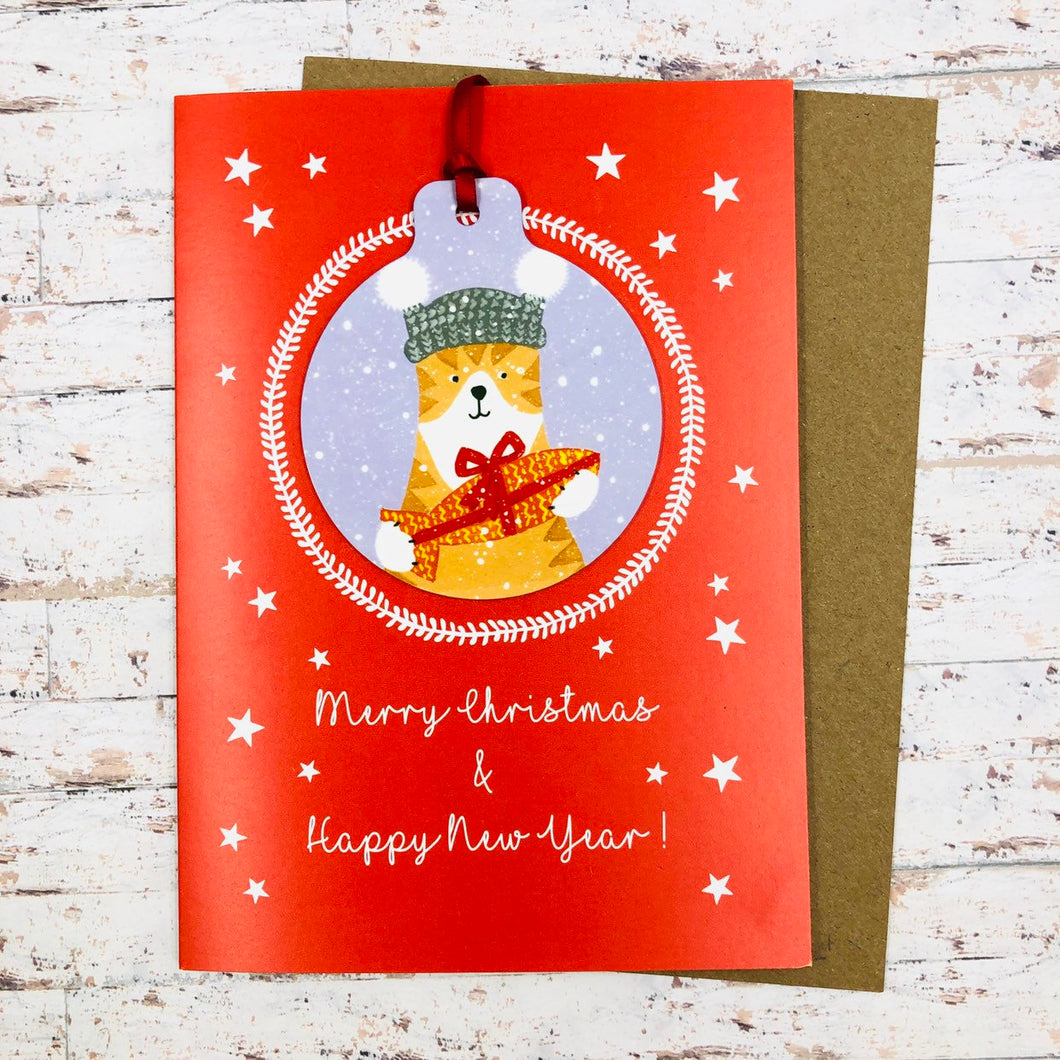 Cat Christmas Card With Decoration - Handmade