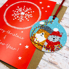 Load image into Gallery viewer, Best Friends Cat Christmas Card With Decoration - Handmade