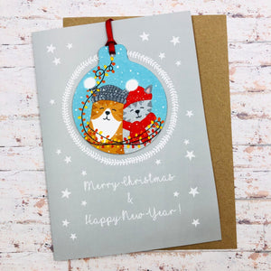 Best Friends Cat Christmas Card With Decoration - Handmade